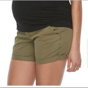 Women's maternity shorts- green. Full belly panel